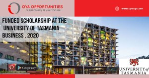 Funded Scholarship at the University of Tasmania Business , 2020