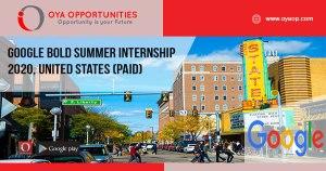 Google BOLD Summer Internship 2020, United States (Paid)
