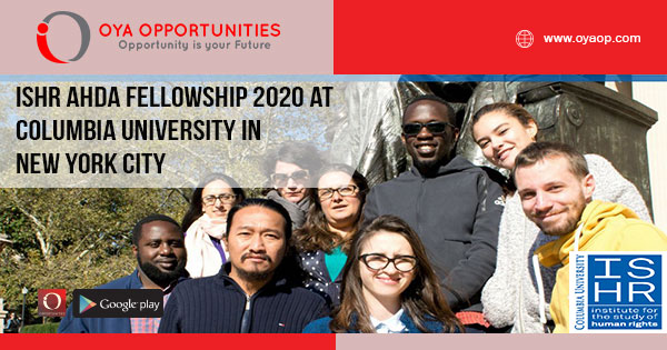 ISHR AHDA Fellowship 2020 at Columbia University in New York City