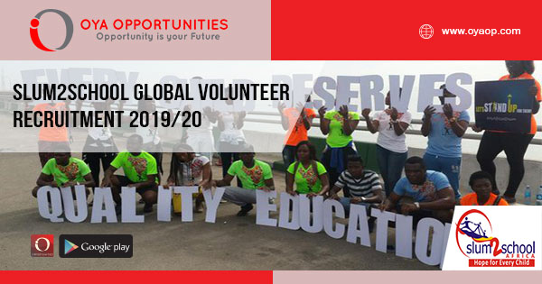 Slum2School Global Volunteer Recruitment 2019/20