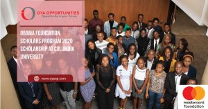 Obama Foundation Scholars Program 2020 Scholarship at Columbia University