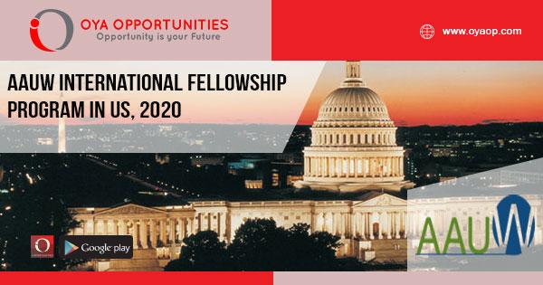 AAUW International Fellowship program in US, 2020