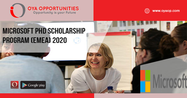 Microsoft PhD Scholarship Program (EMEA) 2020