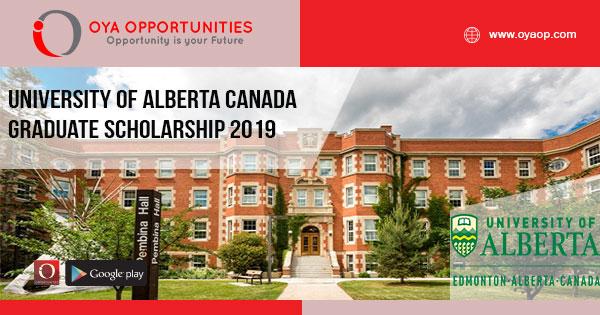 University of Alberta Canada Graduate Scholarship 2019