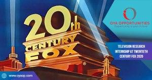 Television Research Internship at Twentieth Century Fox 2020