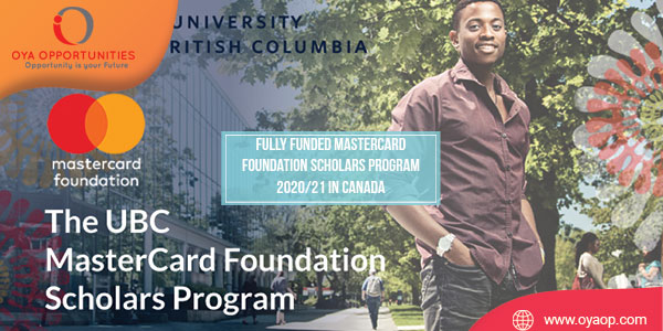 Fully Funded Mastercard Foundation Scholars Program 2020/21 in Canada