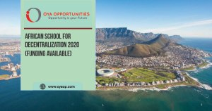 African School for Decentralization 2020 (Funding available)