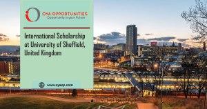 International Scholarship at University of Sheffield, United Kingdom