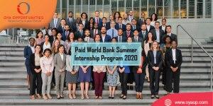 Paid World Bank Summer Internship Program 2020