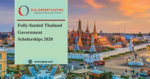 Fully-funded Thai Government Scholarships 2020