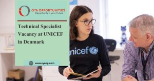 Technical Specialist Vacancy at UNICEF in Denmark