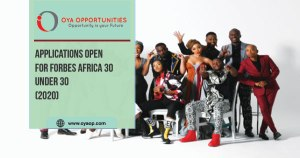 Applications Open for FORBES AFRICA 30 Under 30(2020)