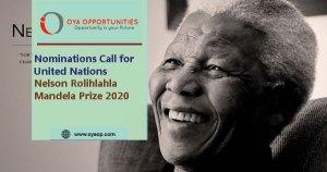 UN Nelson Rolihlahla Mandela Prize 2020