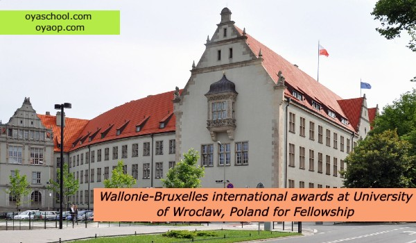 Wallonie-Bruxelles international awards at University of Wroclaw, Poland for Fellowship