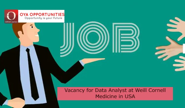 Vacancy for Data Analyst at Weill Cornell Medicine in USA
