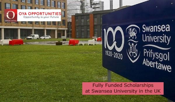 Fully Funded Scholarships atSwansea Universityin the UK