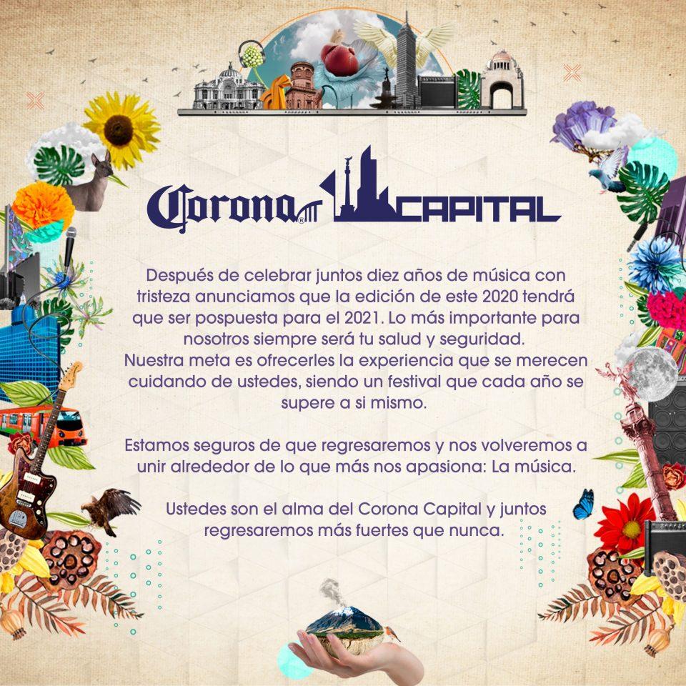 Lo que nos faltaba: El Corona Capital se pospone hasta el 2021
