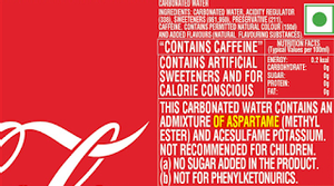 Image Credit: Coke India Nutritional Label