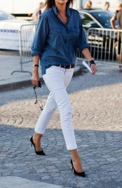 white jeans -and-chambray