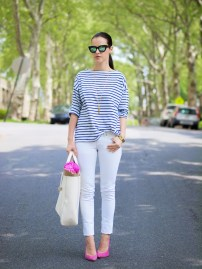 white jeans and stripes with a pop of color