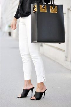 white jeans on mules