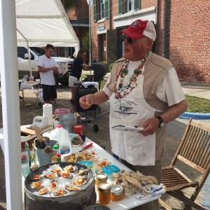 Jeff Ilardi topping oysters