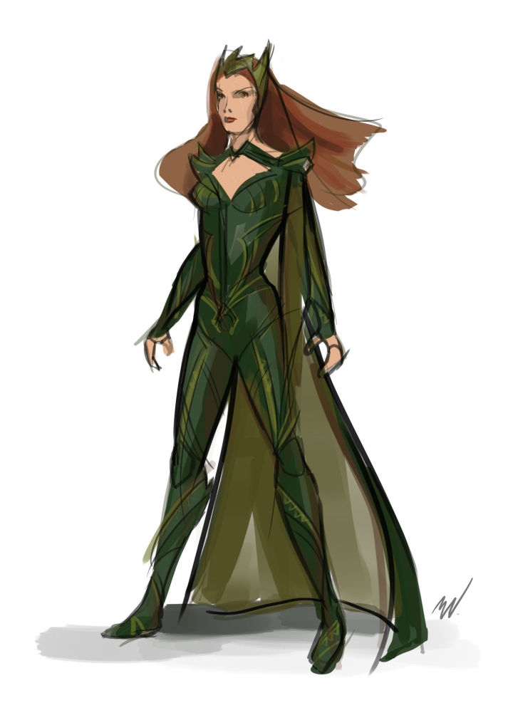 esboço de Justice League figurinista Michael Wilkinson para o traje de Mera.  CRÉDITO: © 2016 Warner Bros. Entertainment Inc./ ™ & © DC Comics