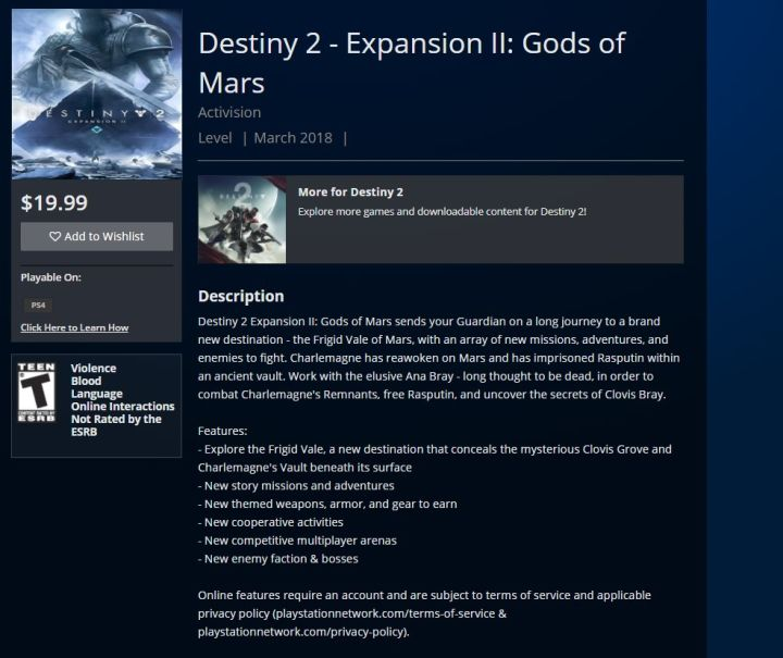 Destiny 2: Gods of Mars DLC Details Outed by PSN | PerezStart