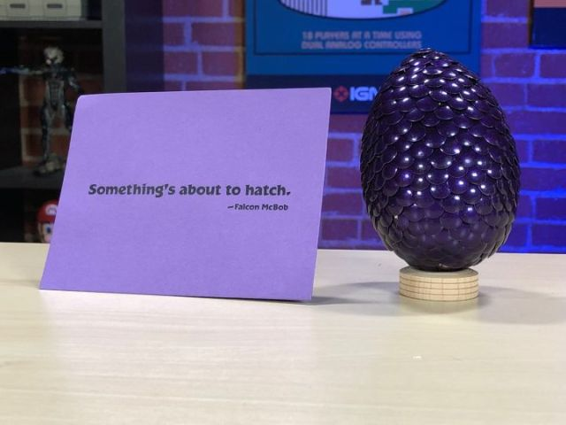 The mysterious purple egg.
