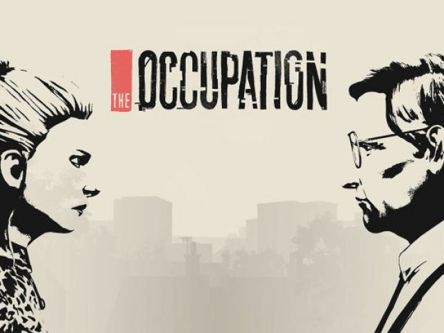 """KIey art for The Occupation for PC/Steam. It features a rough black and white profile of a woman on the left, and a older man on the right. They face each other. Title text in the middle reads """"The Occupation."""""""