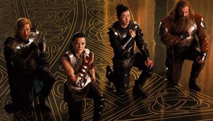 Thor's Warriors Three: Fandral (Josh Dallas), Sif (Jaime Alexander), Hogun (Tadanobu Asano), and Volstagg (Ray Stevenson).