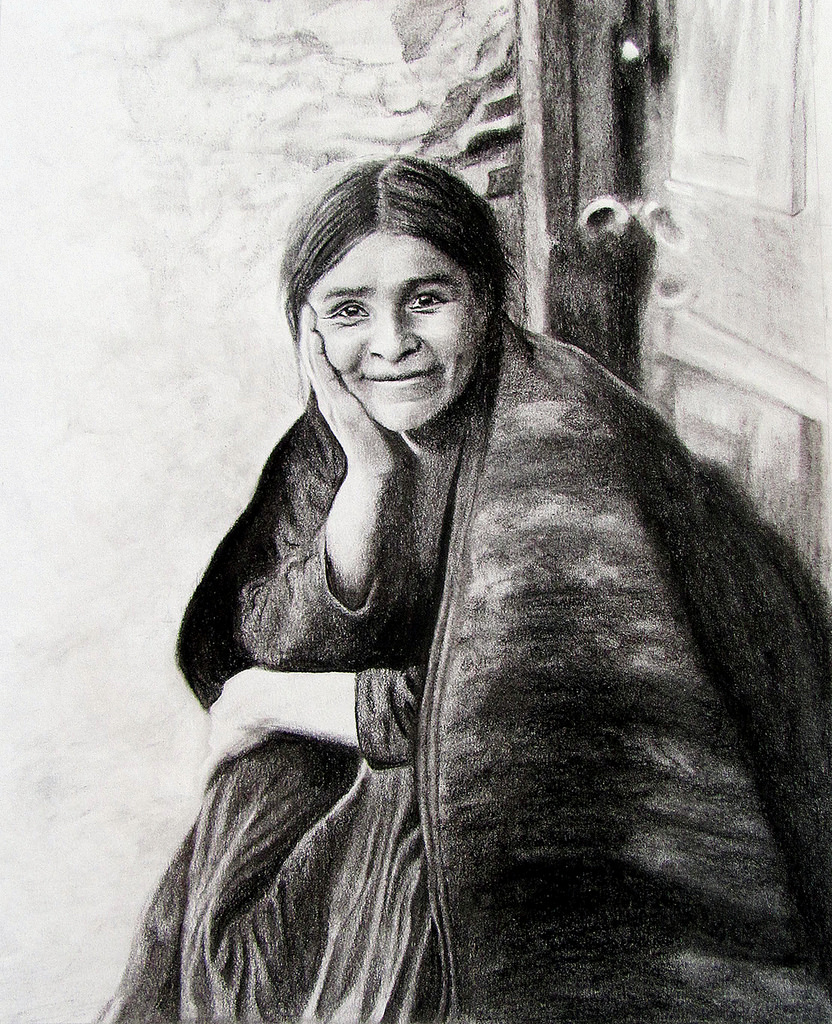First Americans: Navajo Woman Smiling by Jessica Crabtree