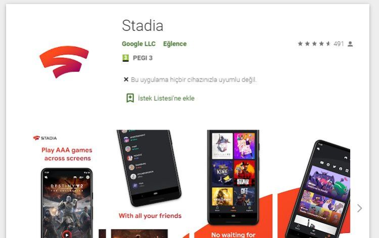 Google Stadia Google Play Görseli