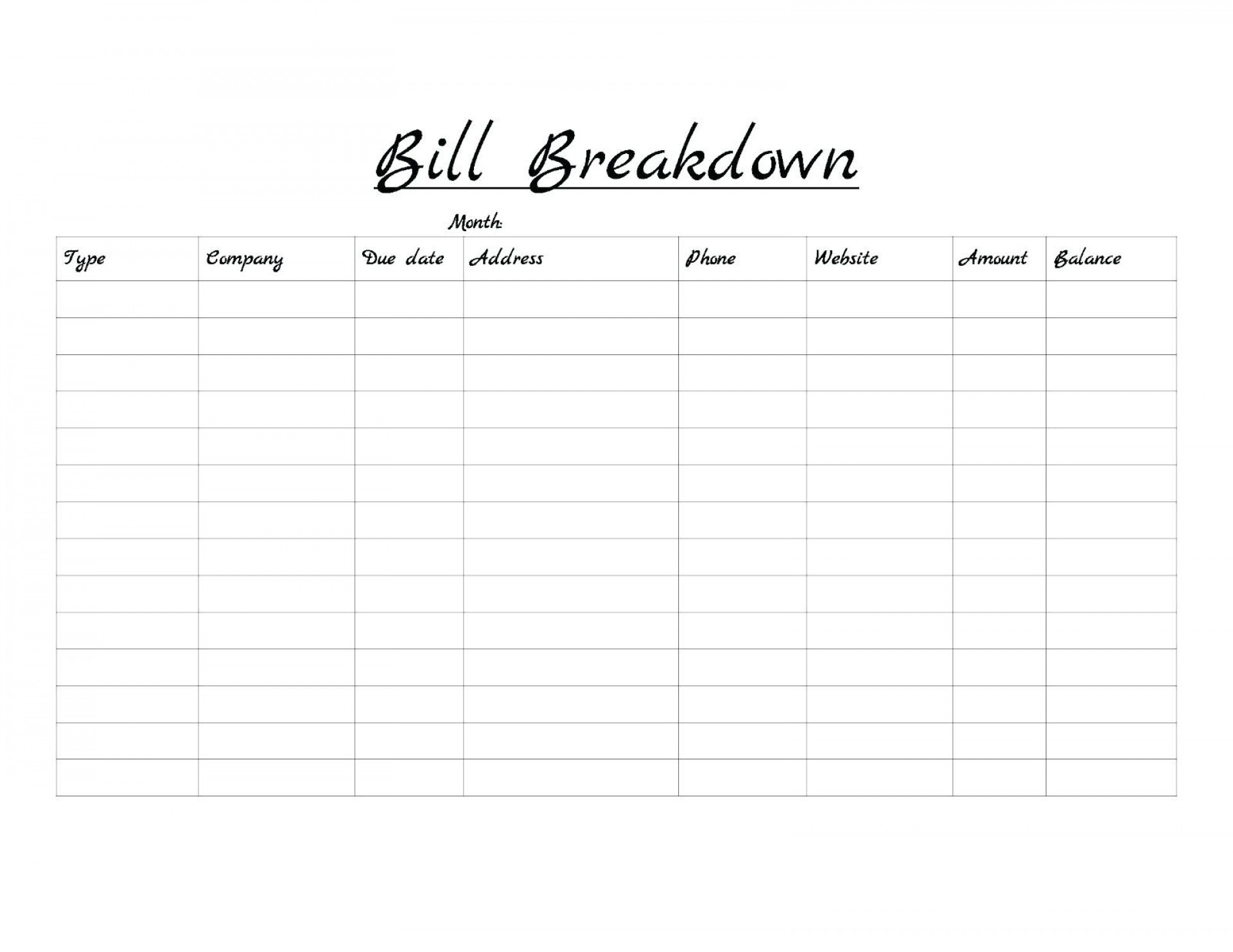 Monthly Bill Template Free Printable