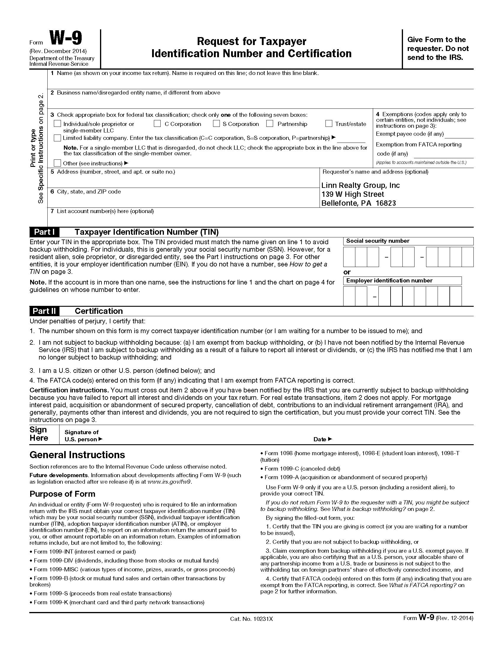 Blank Printable W 9 Form