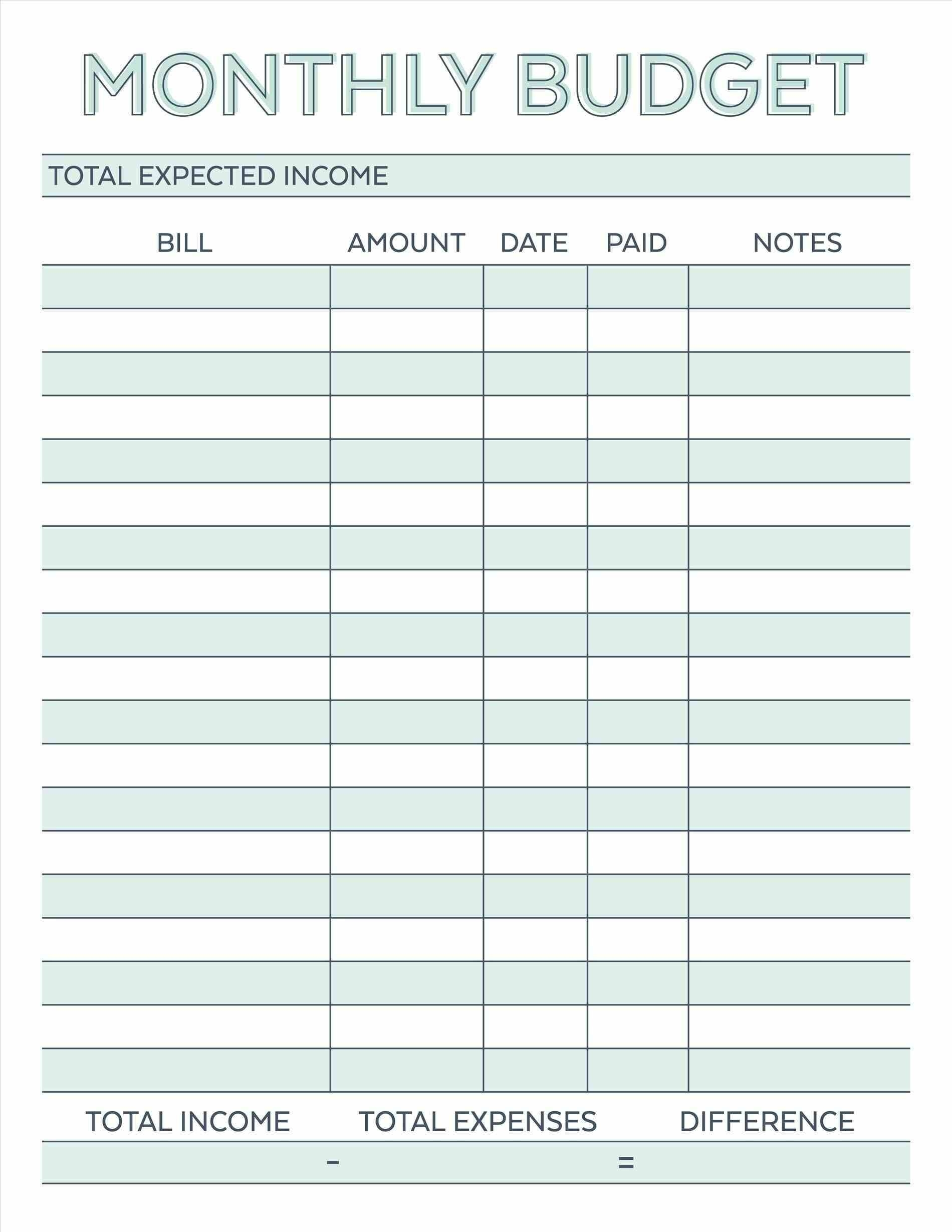 Blank Chart For Monthly Bills