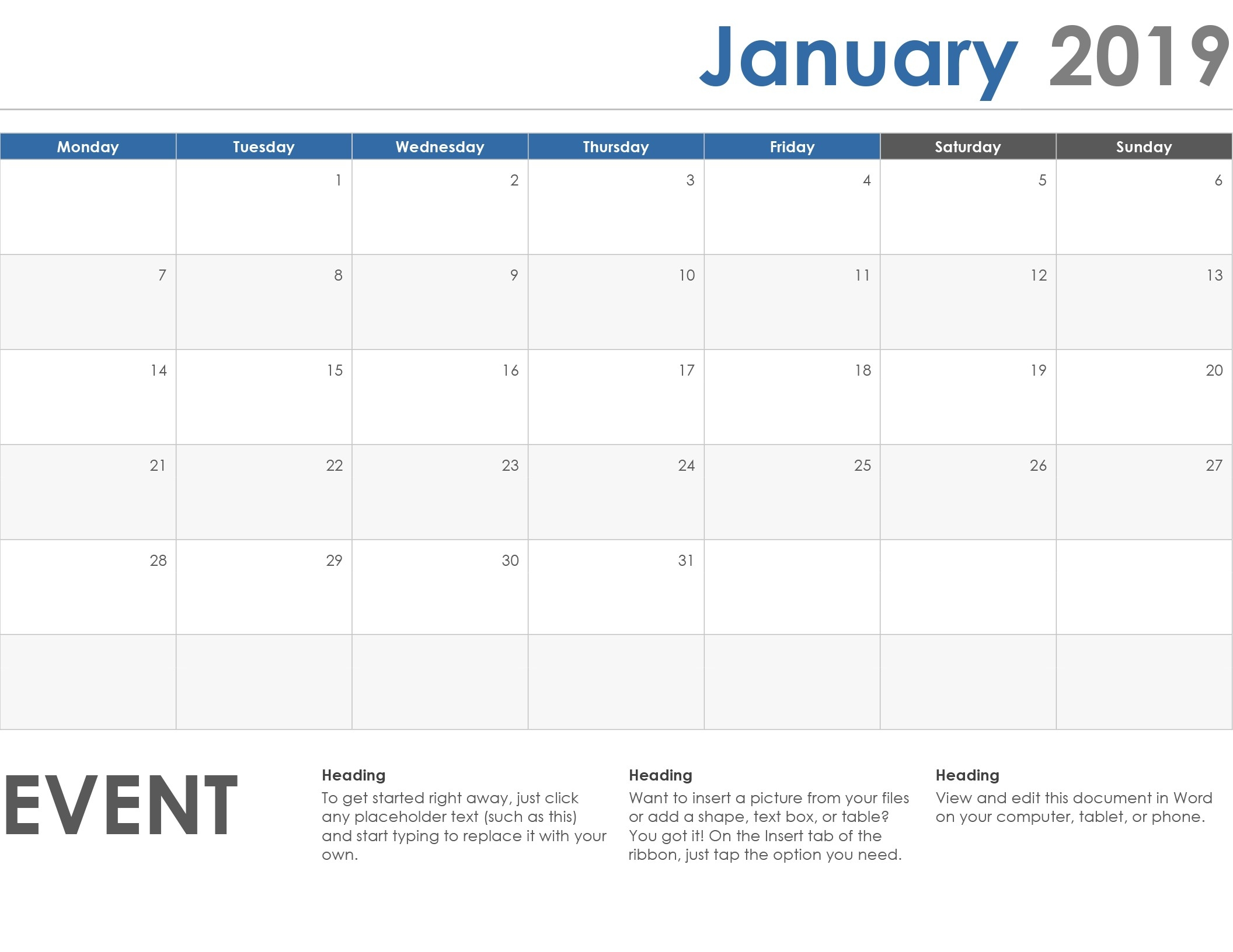 Weekly and monthly calendar planners available. Blank Calendar Template With Space For Memo And Notes ...