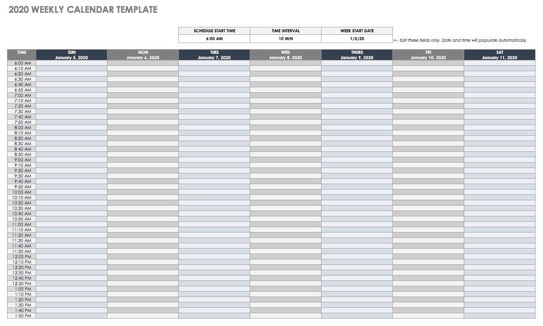 Sheets Calendar Template