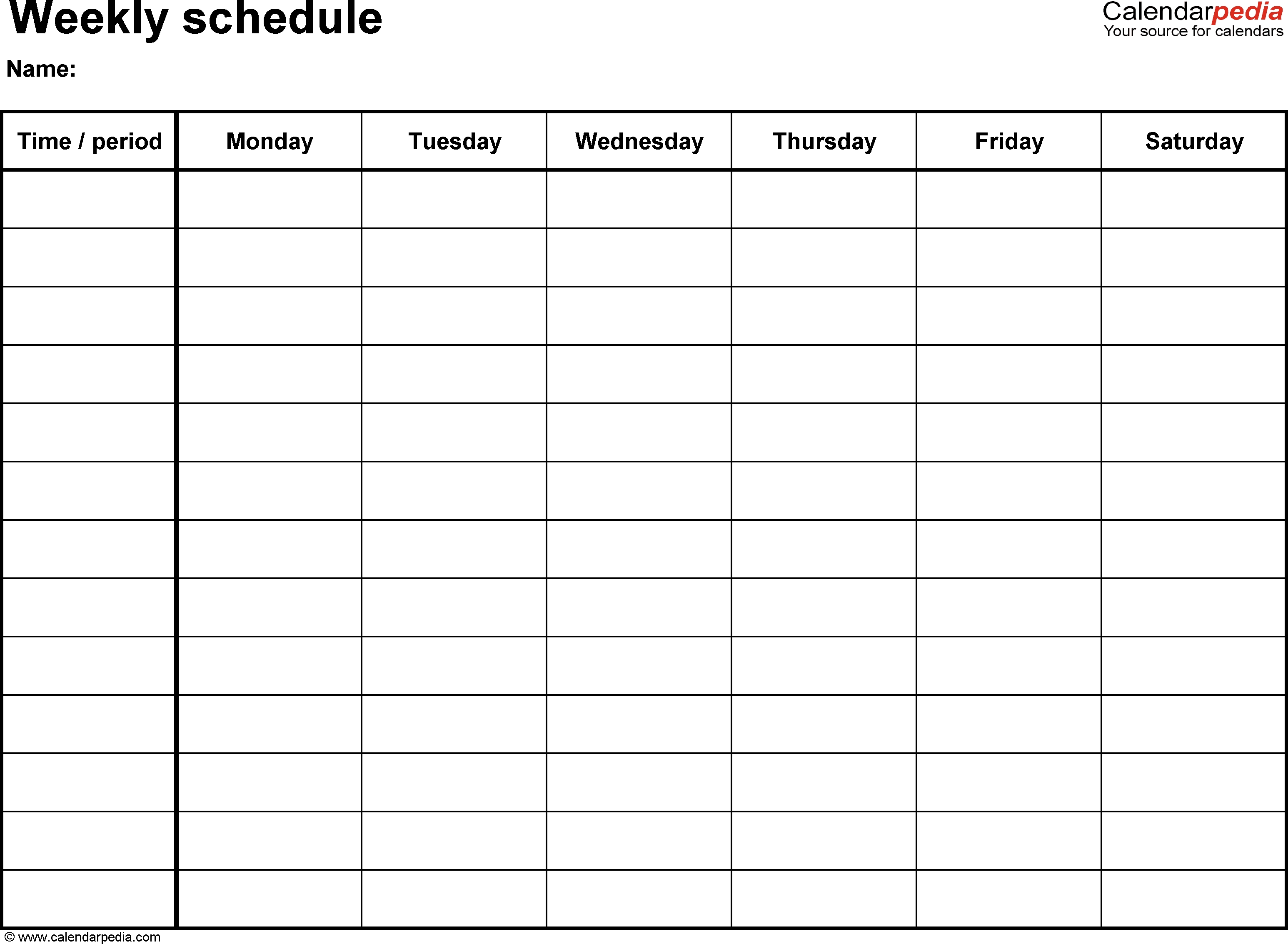 Downloadable Monday Thru Friday Calendar Template