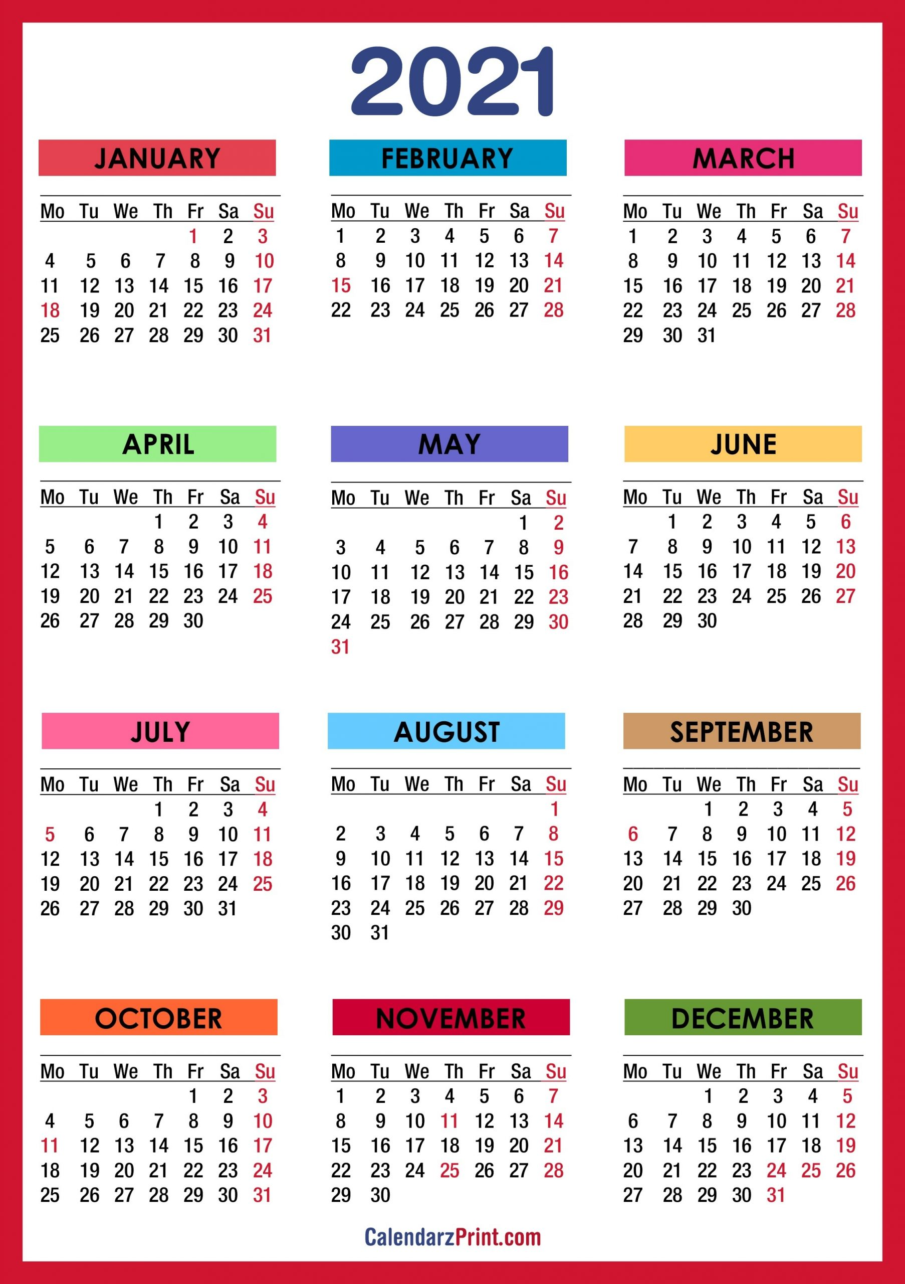 If you haven't done so already, it's time to update last year's custom photo calendar. Printable Vacation Calendar For 2021 | Calendar Template ...