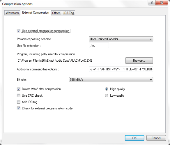 FLAC options in EAC