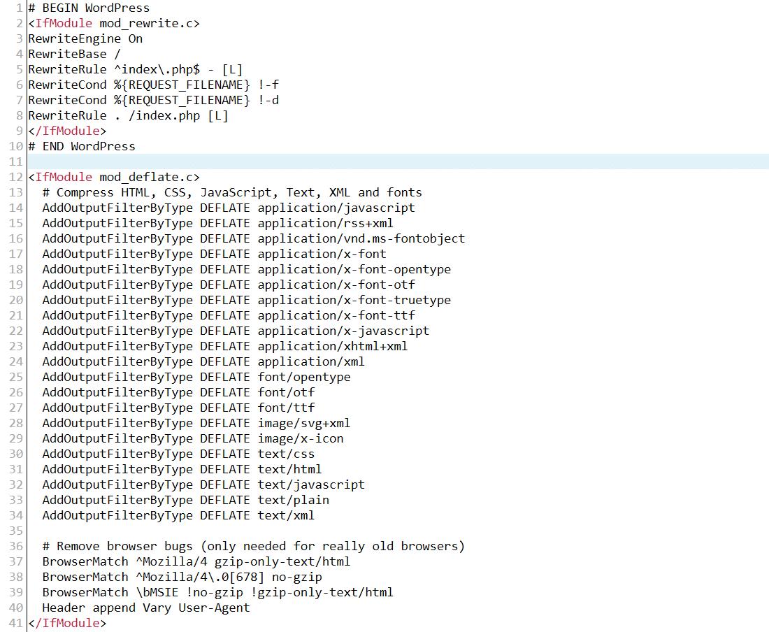 GZIP sıkıştırmasını etkinleştirdikten sonra Apache .htaccess dosyası örneği
