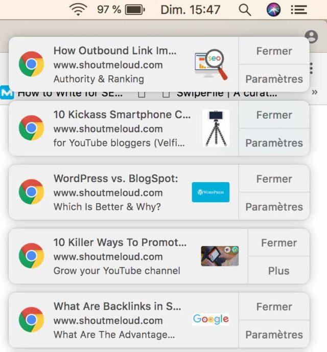 Chrome'daki birkaç push bildirimine örnekler