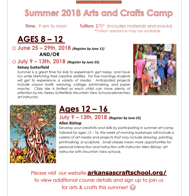 2018 ACS Arts & Crafts Summer Camps for Youth