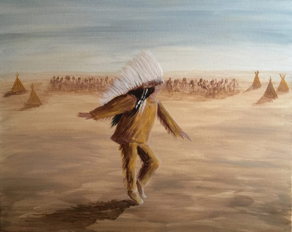 Ozarks Art Gallery | Ghost Dancer - Original Native American Western Art Painting by KJ Burk