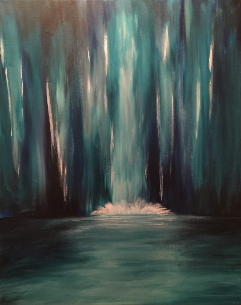 Ozarks Art Gallery | Ice Cavern Waterfall - Original Abstract Painting by KJ Burk
