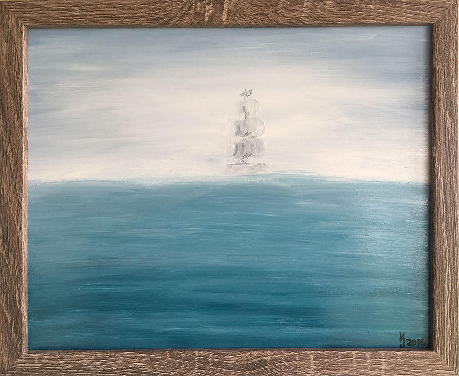Ozarks Art Gallery | Out of the Fog - Original Seascape Painting by KJ Burk