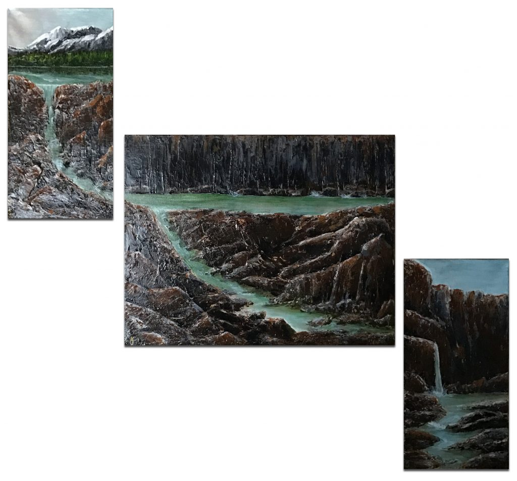 Ozarks Art Gallery | River Run - Original Triptych Textured Landscape Painting by KJ Burk