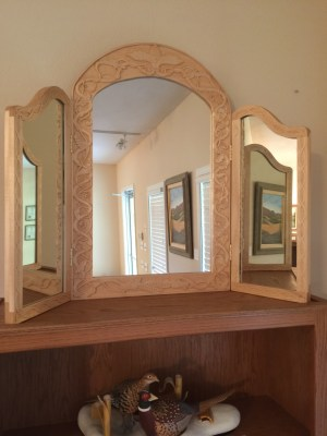 Ozarks Art Gallery | Hand Carved Tri-Fold Wood Mirror by Russ Biros