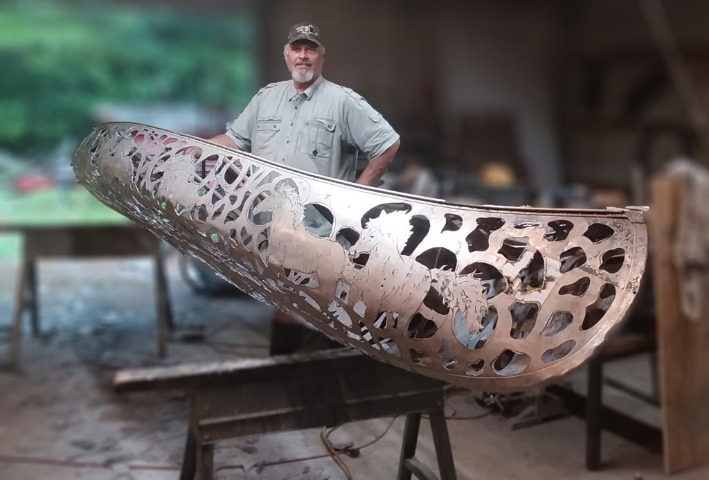 Bob Parker ~ Fine Metal Canoe Artist featured at the Ozarks Art Gallery